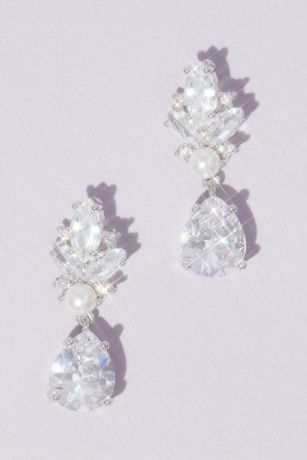 Marquise and Pear Cut Crystal Drop Earrings