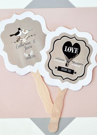 Personalized Vintage Wedding Paddle Fans