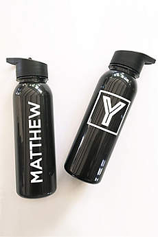 Personalized White and Black Sports Bottle