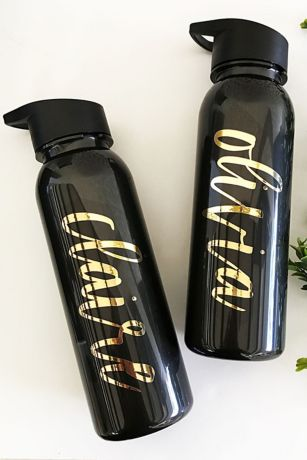 Personalized Gold and Black Sports Bottle