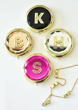 Personalized Gold Monogram Compact Mirror