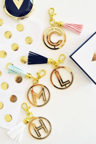 Personalized Gold Monogram Keychain with Tassel