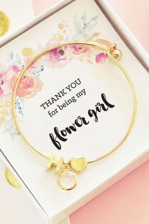Personalized Gold Floral Flower Girl Bracelet