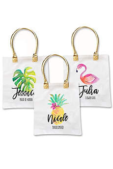 Personalized Tropical Beach White Canvas Tote Bag