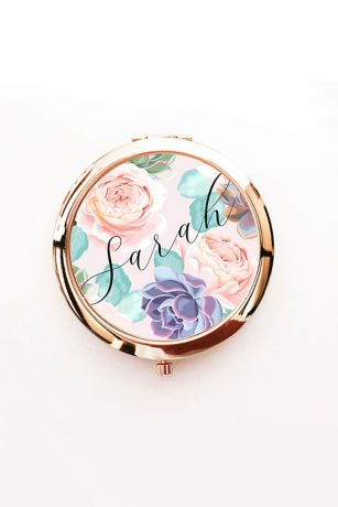 Personalized Succulent Mirror Compact