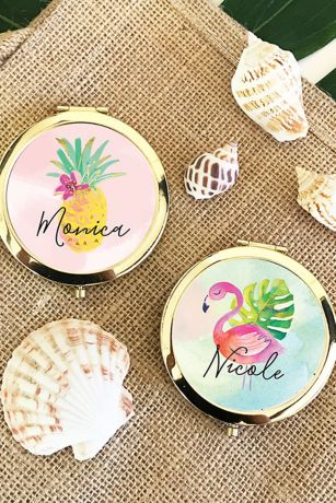 Personalized Tropical Beach Compact Mirrors