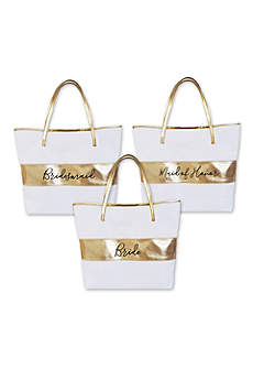Bridal Party Gold Striped Tote Bag