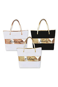 Personalized Metallic Stripe Tote