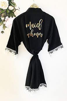 Maid of Honor Cotton Robe With Lace Trim