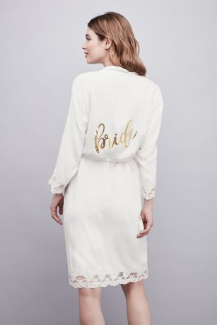 Lace-Trimmed Bride Robe with Gold Foil Print