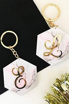 Personalized Pink Marble Monogram Keychain