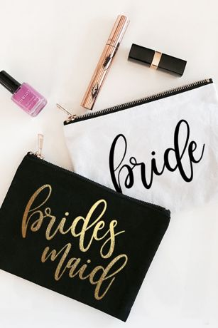 Personalized Bridal Party Canvas Cosmetic Bag