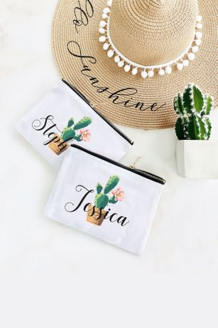 Personalized Cactus Canvas Cosmetic Bag