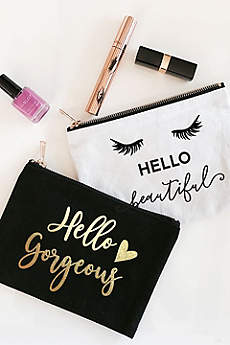 Hello Theme Canvas Cosmetic Bag