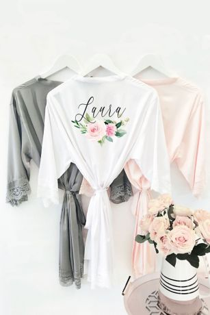Personalized Floral Satin and Lace Robe