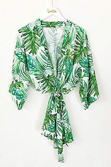 Personalized Monogram Tropical Palm Leaf Robe