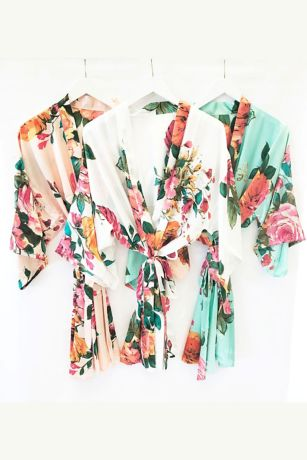 Monogram Watercolor Floral Robes