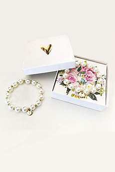 Personalized Monogram Pearl Bracelet with Gift Box