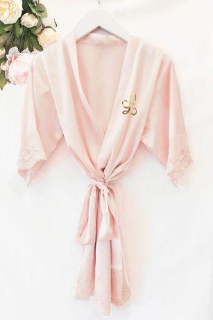 Flower Girl Monogram Satin Lace Robe