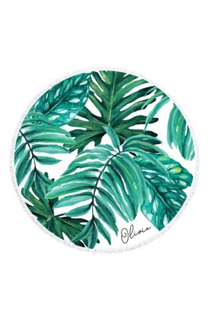 Personalized Palm Leaf Round Beach Towel