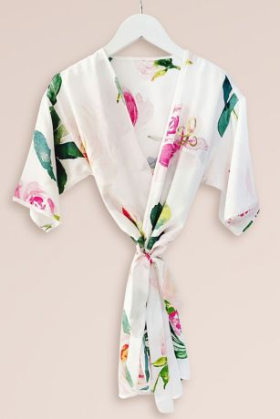 Girls Monogram Spring Rose Satin Robe