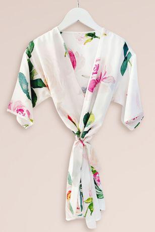 Girls Spring Rose Satin Robe