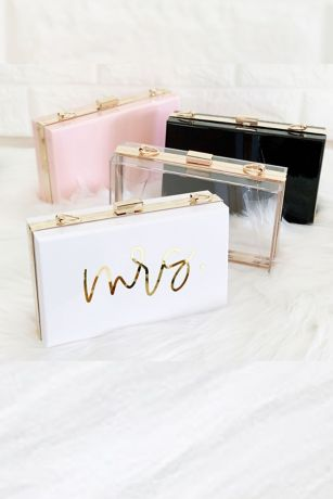 Mrs Script Acrylic Clutch with Removable Chain