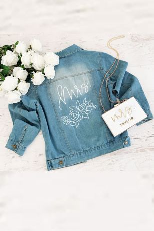 Printed Floral and Script Jean Jacket