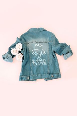 Floral and Script Personalized Jean Jacket