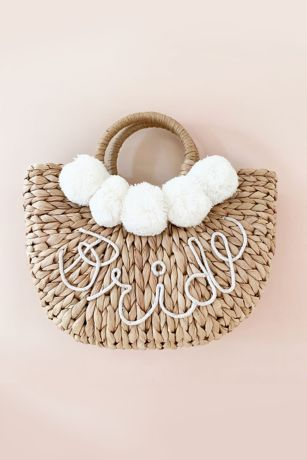 Hand-Lettered Bride Straw Handbag with Pom Poms
