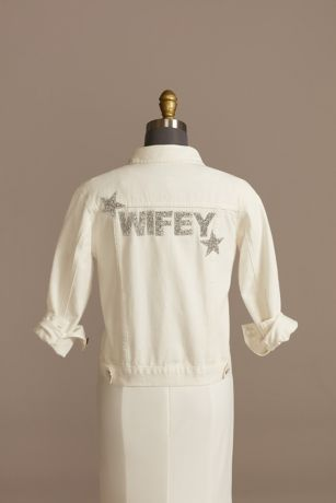 Sequin Star Patch Distressed White Denim Jacket