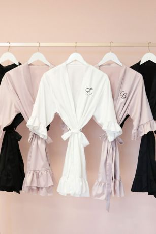 Monogram Satin Ruffle Trim Robe