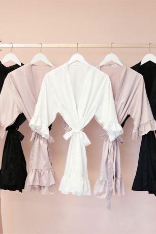 Satin Ruffle Trim Robe