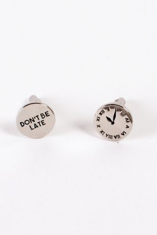"Don""t Be Late Stainless Steel Cufflinks"