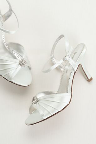 David's Bridal White Sandals (Dyeable Satin Pleated Shoe with Ornament)