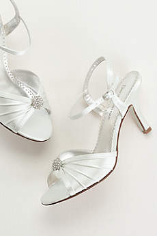 White Sandals (Dyeable Satin Pleated Shoe with Ornament)