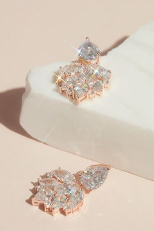Cubic Zirconia Cluster Drop Earrings