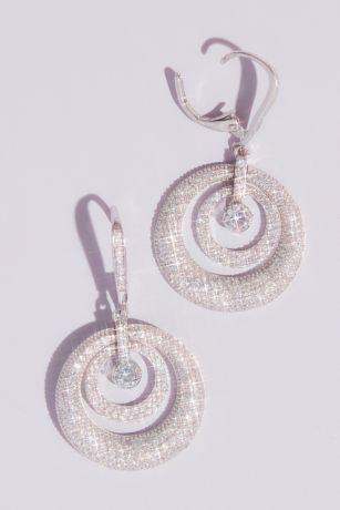 Domed Swarovski Crystal Pave Hoop Earrings