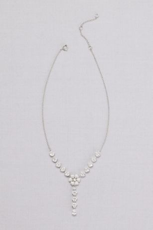 Y-Neck Crystal-Dusted Flower Necklace