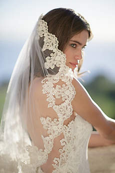 Freshwater Pearl and Alencon Lace Veil with Comb