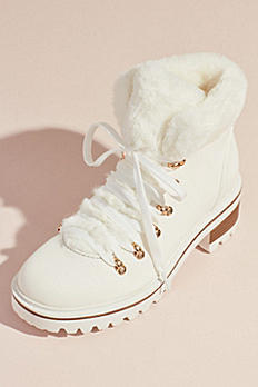 Faux Shearling Cuff Lace-Up Winter Boots EDISON05