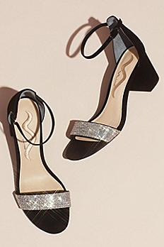 Crystal Strap Suede Block Heel Sandals Edria