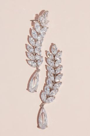 Marquise-Cut and Teardrop Cubic Zirconia Earrings