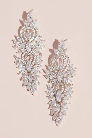 Marquise-Cut Crystal and Pattern Drop Earrings