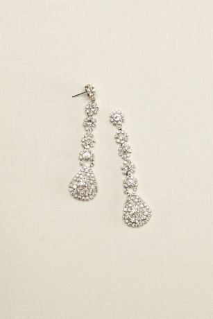 Long Flower Crystal Earrings