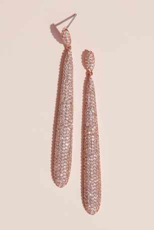Cubic Zirconia Skinny Oval Drop Pave Earrings