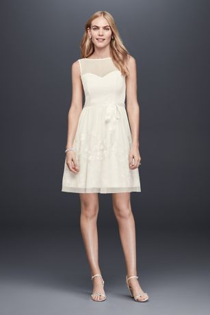 Illusion Bodice Short A-Line Dress with Embroidery