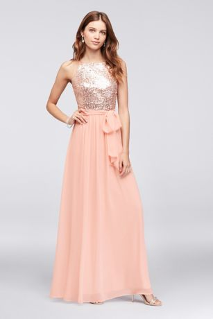 Sequin and Chiffon High-Neck Bridesmaid Dress