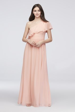 5a8670848b7b Chiffon Bridesmaid Dress with One-Shoulder Flounce