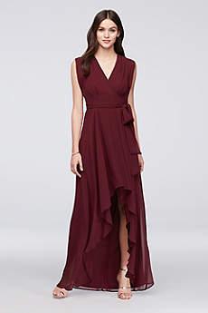 Cap Sleeve Faux-Wrap Chiffon Bridesmaid Dress